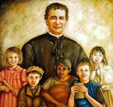 Don Bosco with the young painting