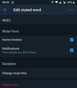 Earlier i muted the #WCEU hashtag, i have deleted it now, i am healed because i cried, haha.