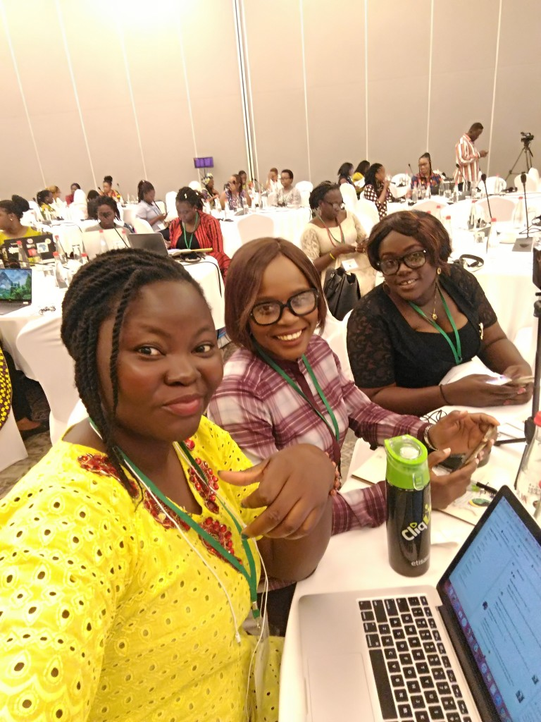 Mary, Olamide and Nanu on Day One at the #TechWomenAfrica Summit in Labadi Beach 2018