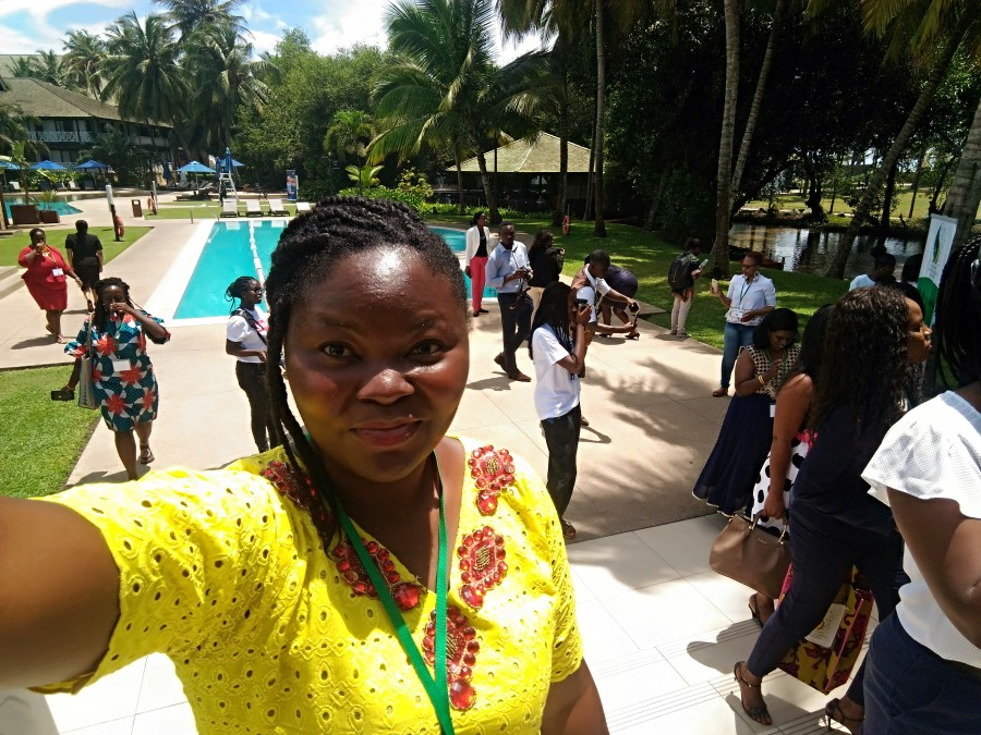 Mary taking a shot outside during a break period at the Tech Women Africa Summit 2018